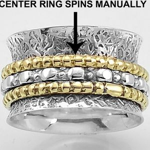 Jewelry - Two Toned Sterling Silver Spinner Ring